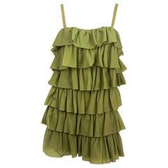 1970s Avocado Green Mini Dress