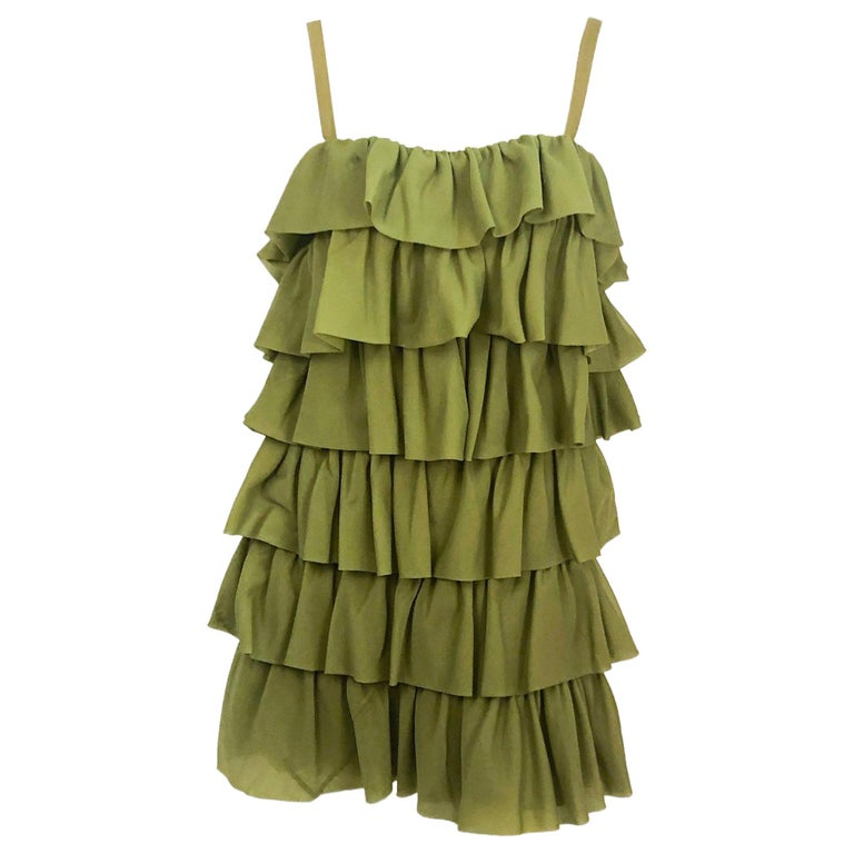 7a643f533f 1970s Avocado Green Mini Dress For Sale at 1stdibs