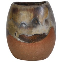 "1970s ""Axella"" Organic Stoneware Vase in Earth Colors by Aksel Larsen, Denmark"