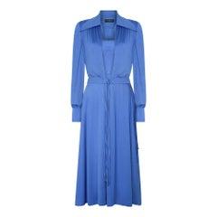 1970s Azure Blue Louis Feraud Jersey Dress with Jacket