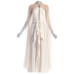 1970s Azzaro White Beaded Poly Blend Jersey Gown With Silk Chiffon Cape