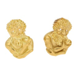 1970s Bacchus Yellow Gold and Diamond Cufflinks