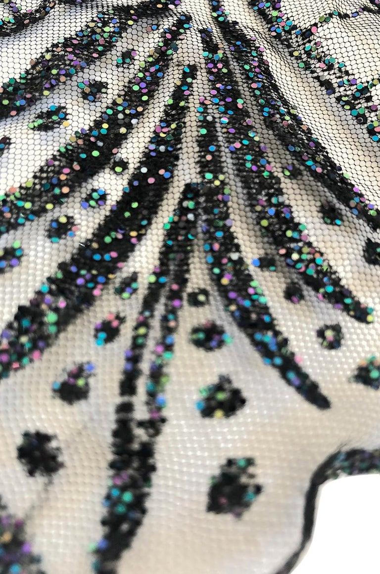 1970s Balestra Roma Alta Moda Couture Silk Chiffon & Fused Glitter Dress For Sale 5