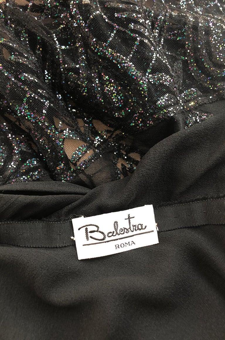 1970s Balestra Roma Alta Moda Couture Silk Chiffon & Fused Glitter Dress For Sale 6