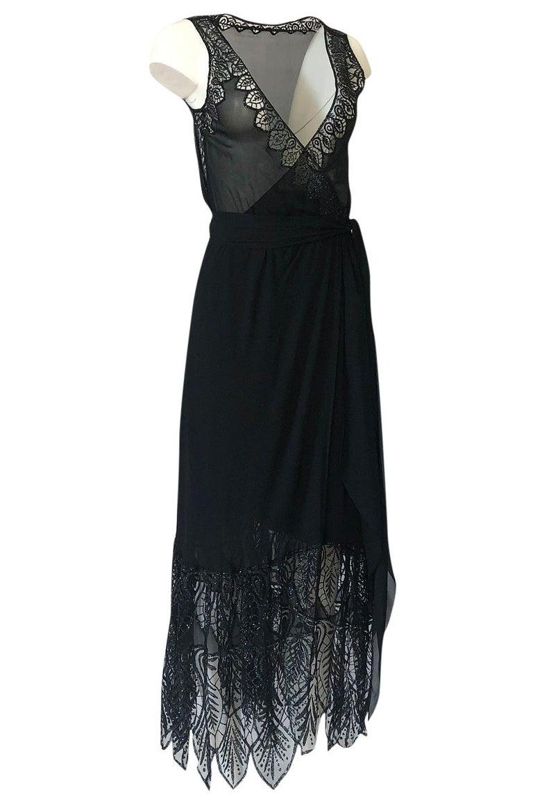 Black 1970s Balestra Roma Alta Moda Couture Silk Chiffon & Fused Glitter Dress For Sale