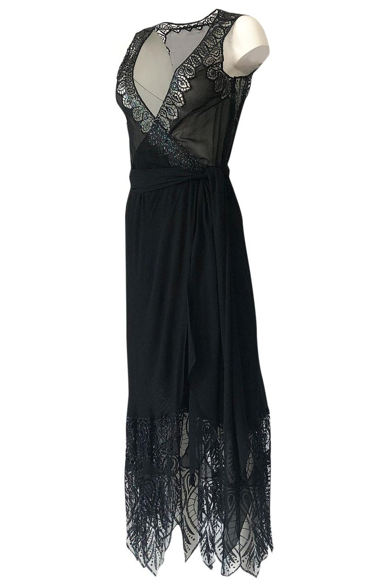 1970s Balestra Roma Alta Moda Couture Silk Chiffon & Fused Glitter Dress In Excellent Condition For Sale In Rockwood, ON