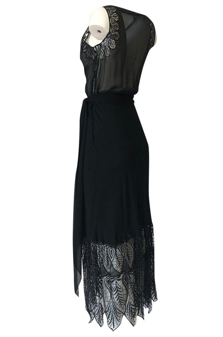 Women's 1970s Balestra Roma Alta Moda Couture Silk Chiffon & Fused Glitter Dress For Sale