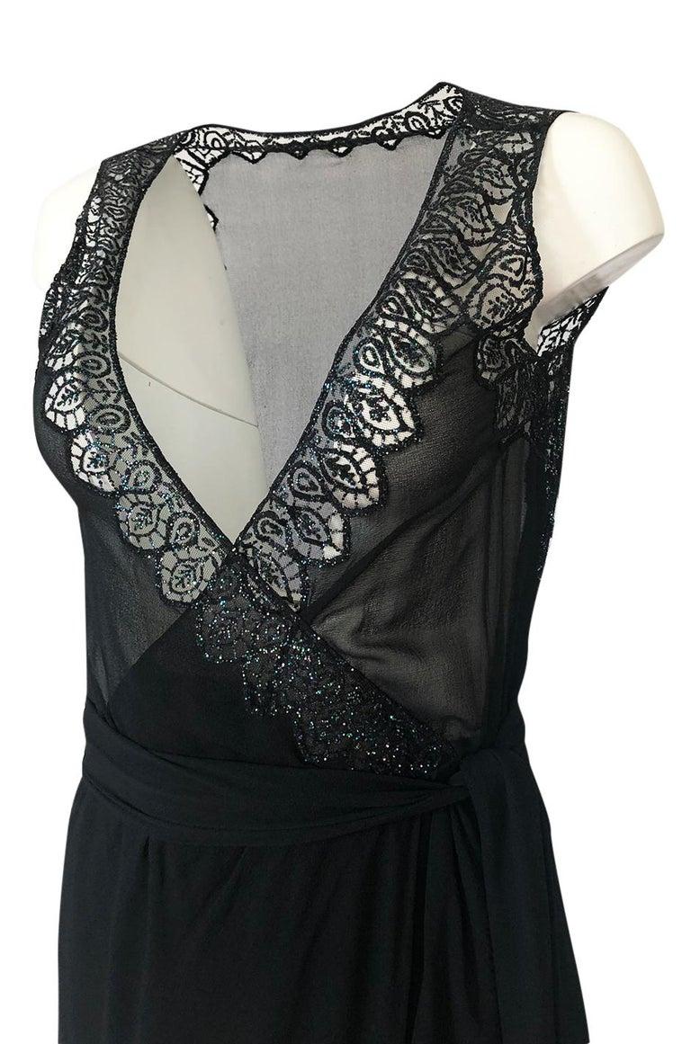1970s Balestra Roma Alta Moda Couture Silk Chiffon & Fused Glitter Dress For Sale 2