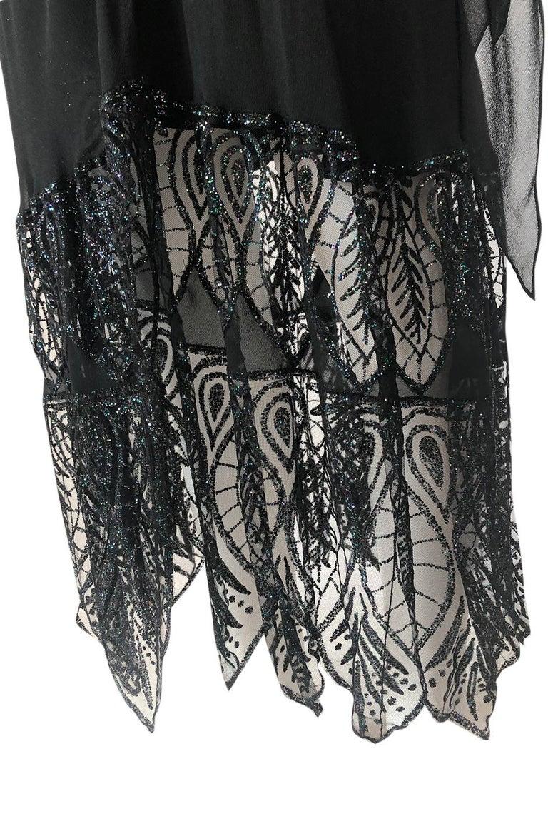 1970s Balestra Roma Alta Moda Couture Silk Chiffon & Fused Glitter Dress For Sale 3