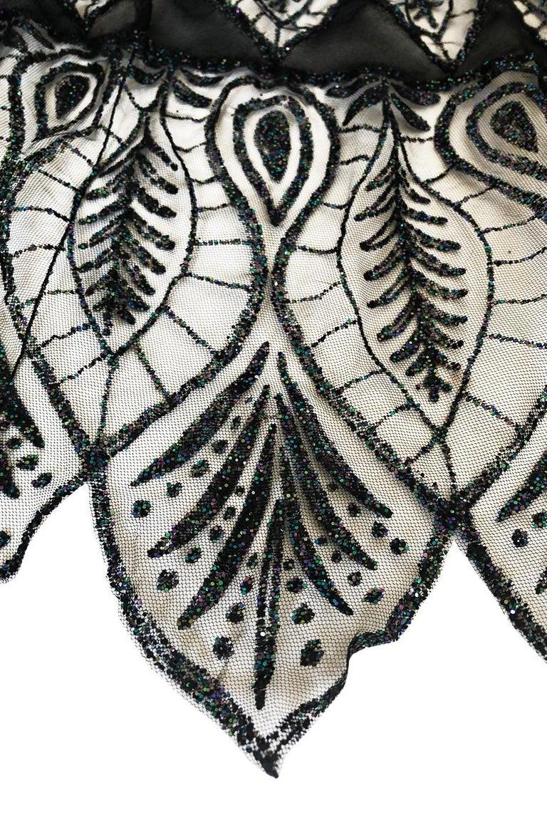 1970s Balestra Roma Alta Moda Couture Silk Chiffon & Fused Glitter Dress For Sale 4