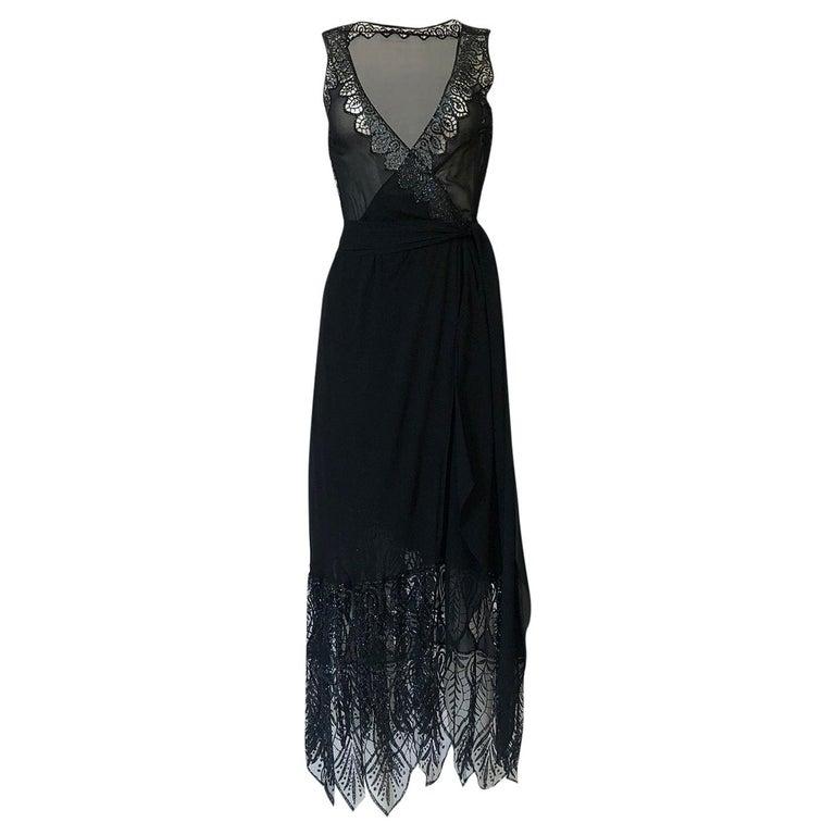 1970s Balestra Roma Alta Moda Couture Silk Chiffon & Fused Glitter Dress For Sale