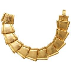 1970s Balmain Paris Bracelet Gold Plate Matte Finish