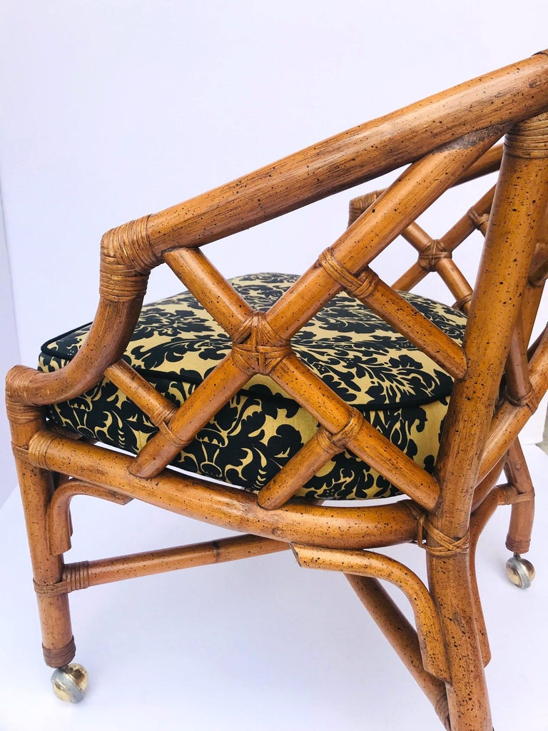 1970s Bamboo and Rattan Chippendale Swivel Desk Chair For Sale 3