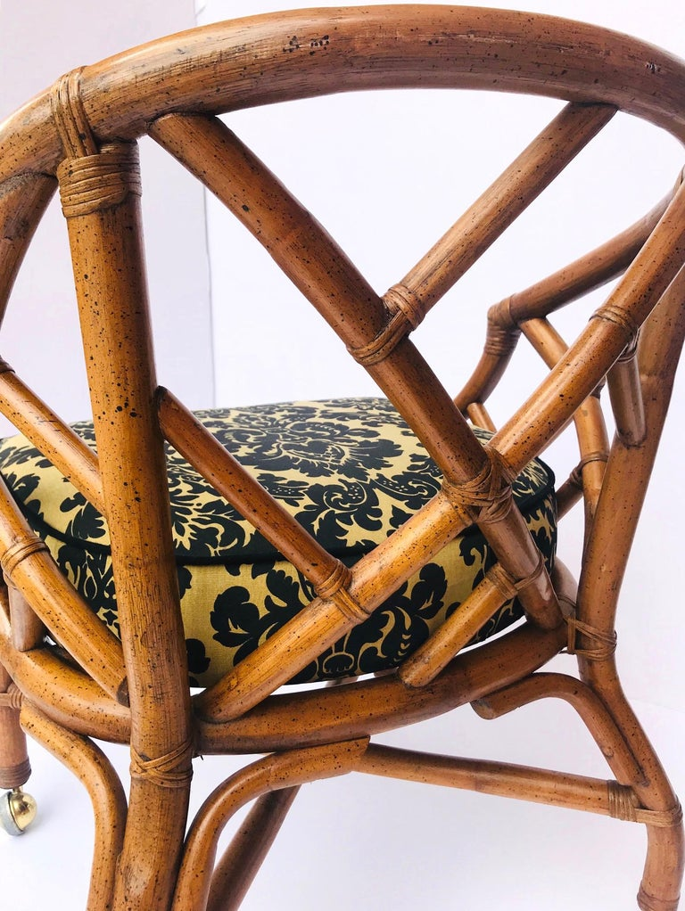 1970s Bamboo and Rattan Chippendale Swivel Desk Chair For Sale 5