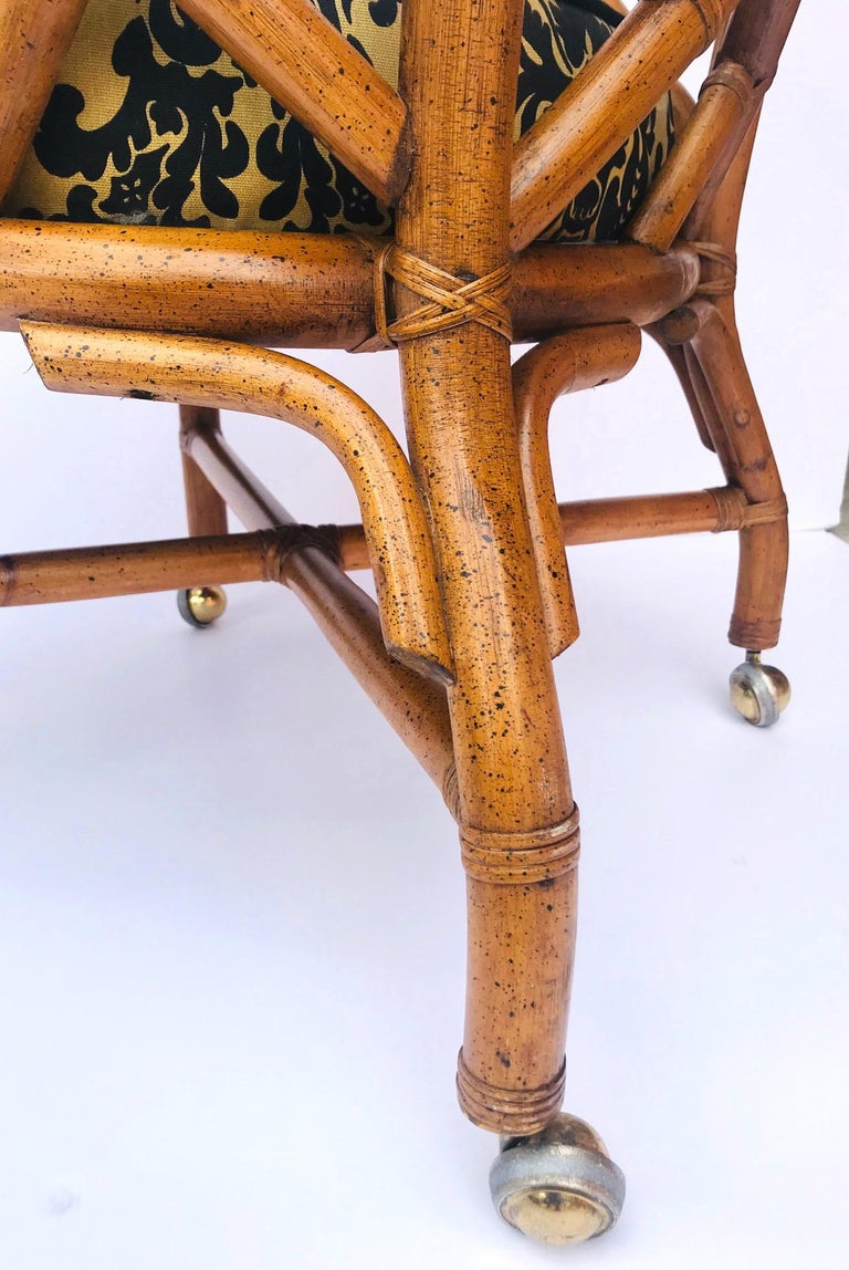 1970s Bamboo and Rattan Chippendale Swivel Desk Chair For Sale 6