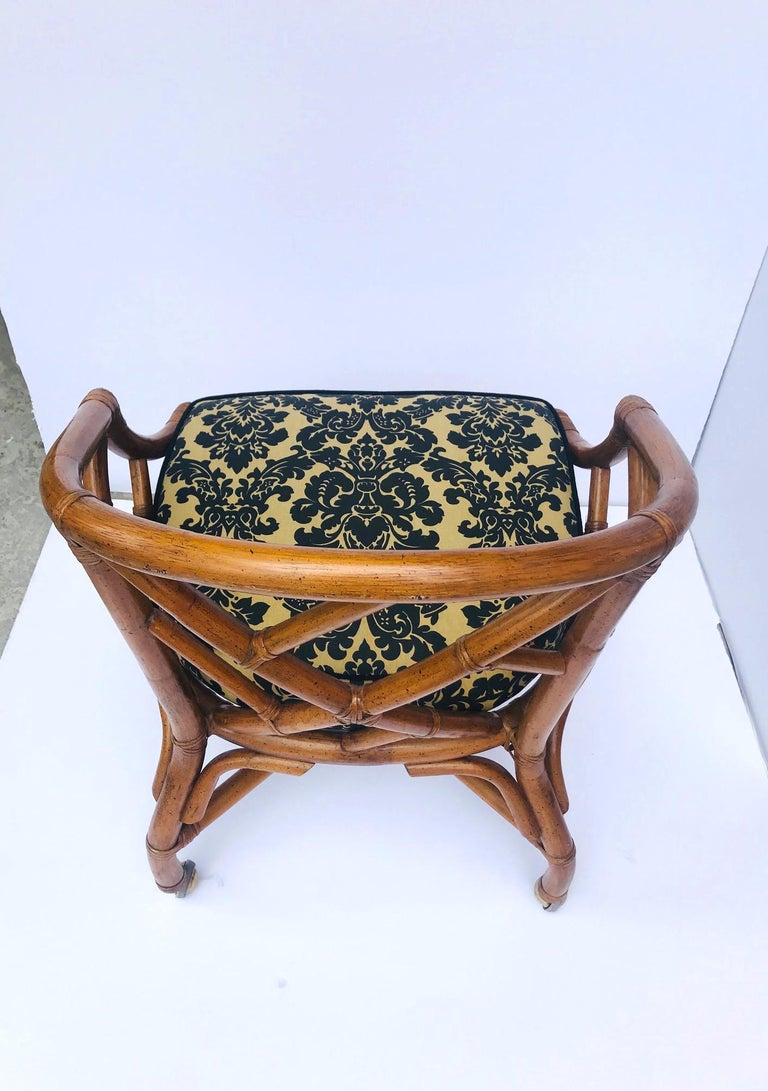 1970s Bamboo and Rattan Chippendale Swivel Desk Chair For Sale 7