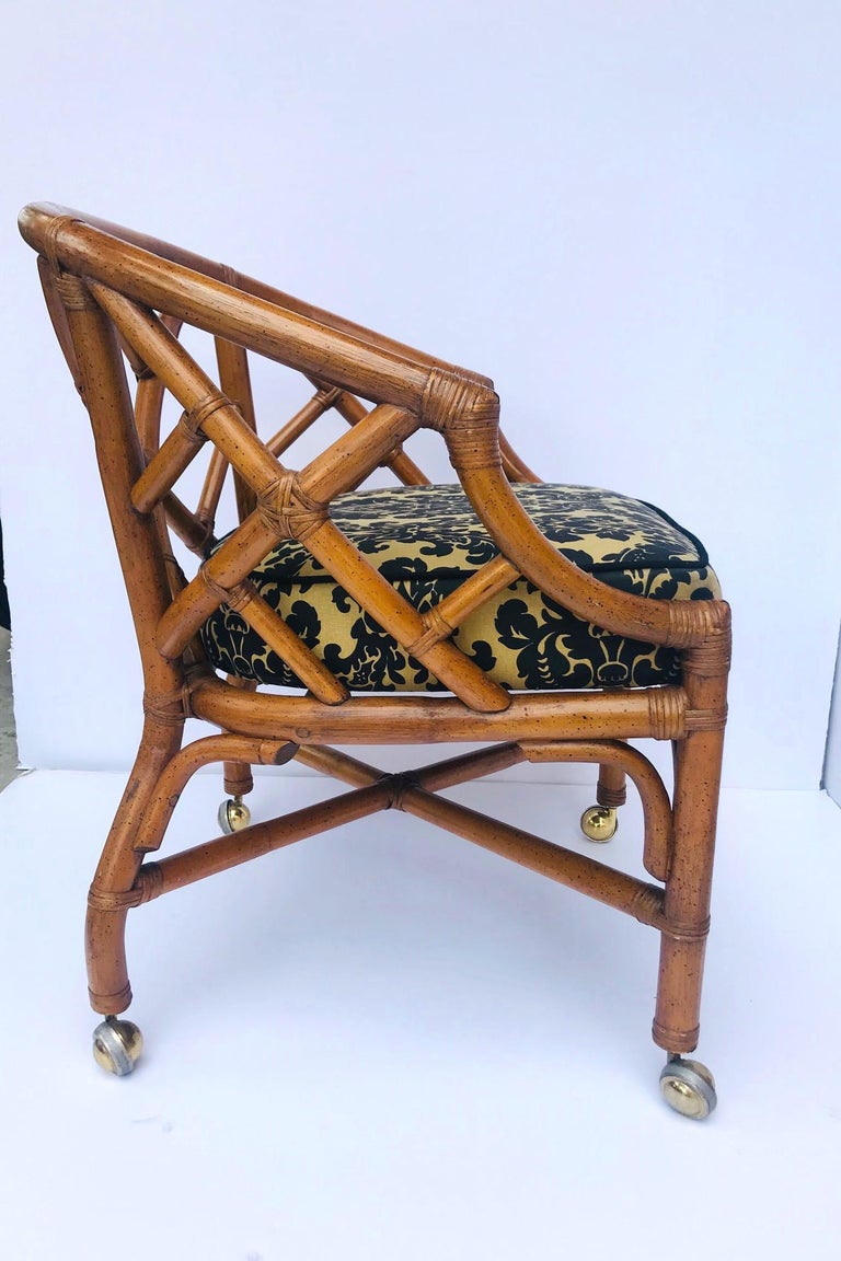 Mid-Century Modern 1970s Bamboo and Rattan Chippendale Swivel Desk Chair For Sale