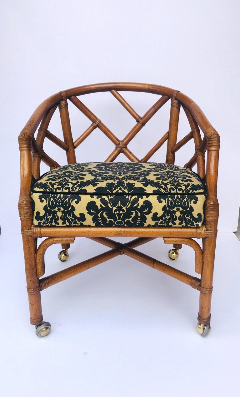 American 1970s Bamboo and Rattan Chippendale Swivel Desk Chair For Sale