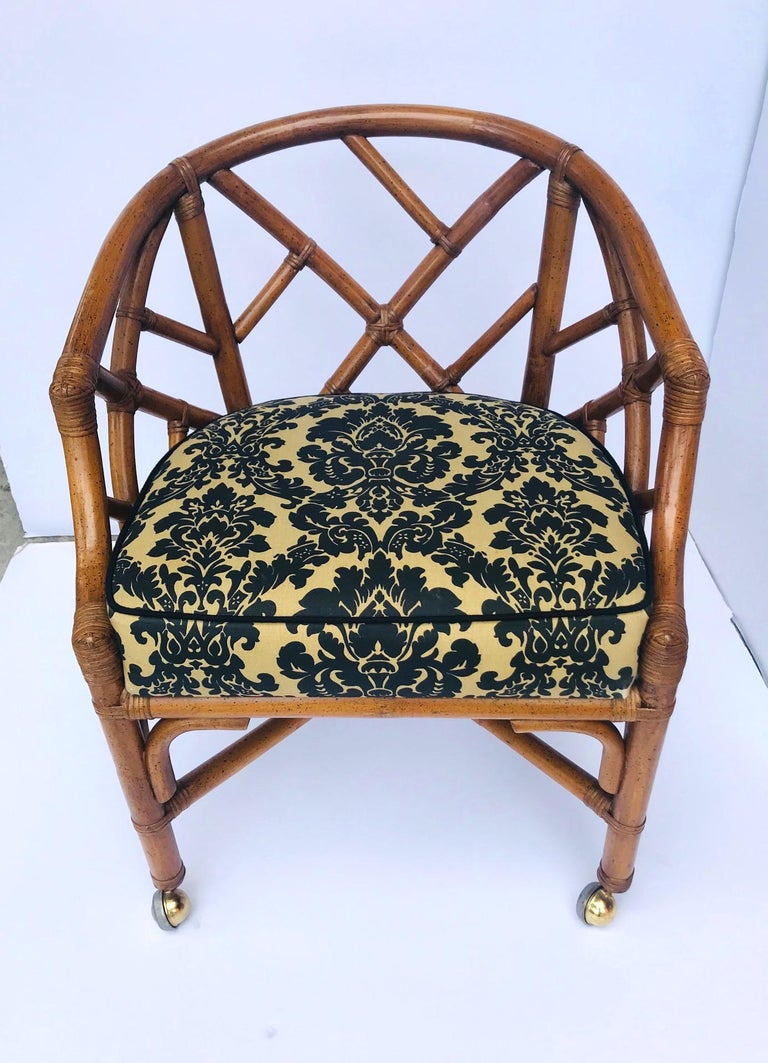 1970s Bamboo and Rattan Chippendale Swivel Desk Chair In Good Condition For Sale In Stamford, CT
