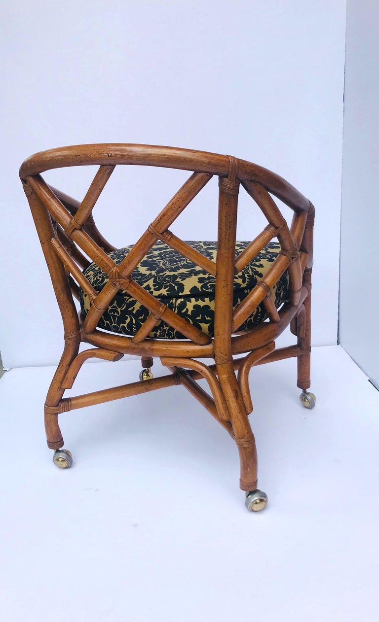 Late 20th Century 1970s Bamboo and Rattan Chippendale Swivel Desk Chair For Sale