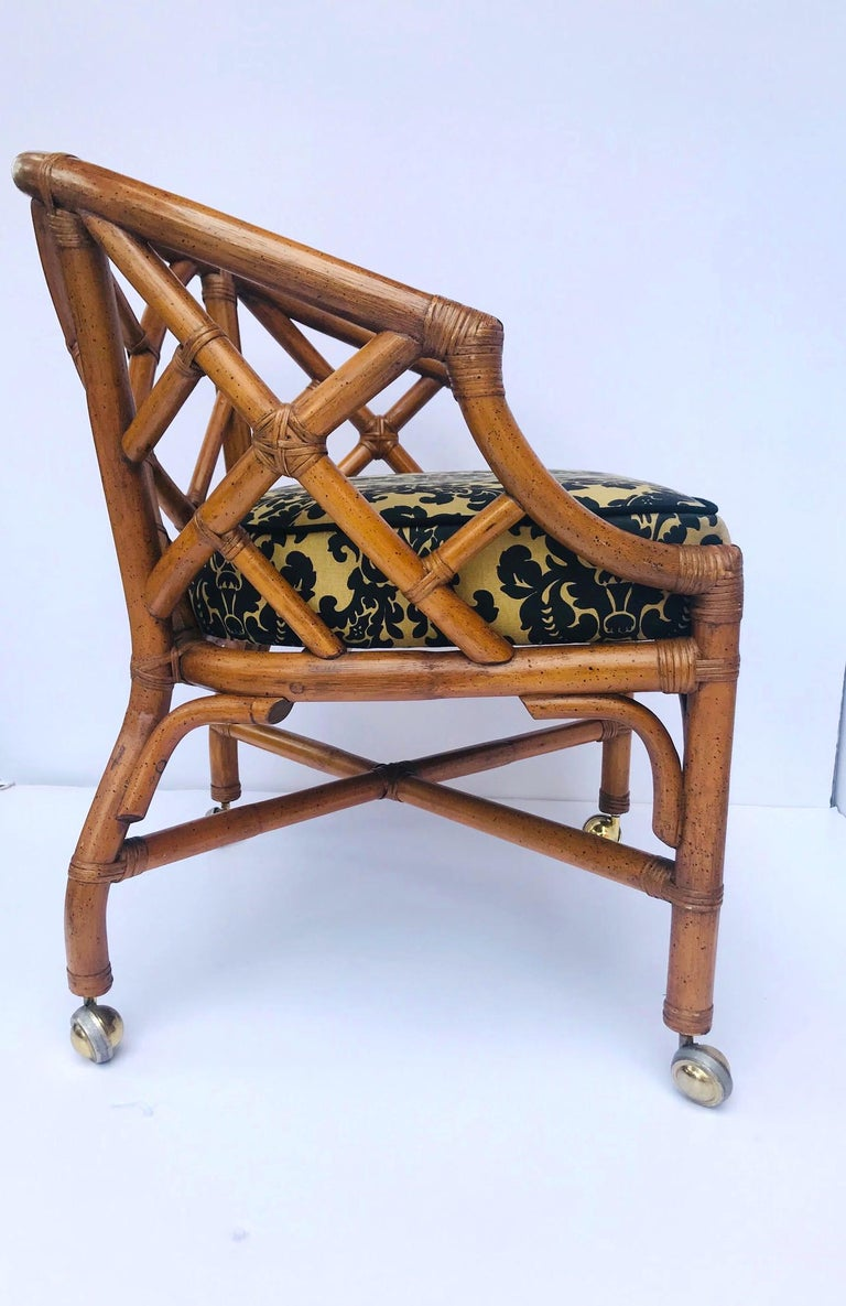 1970s Bamboo and Rattan Chippendale Swivel Desk Chair For Sale 1