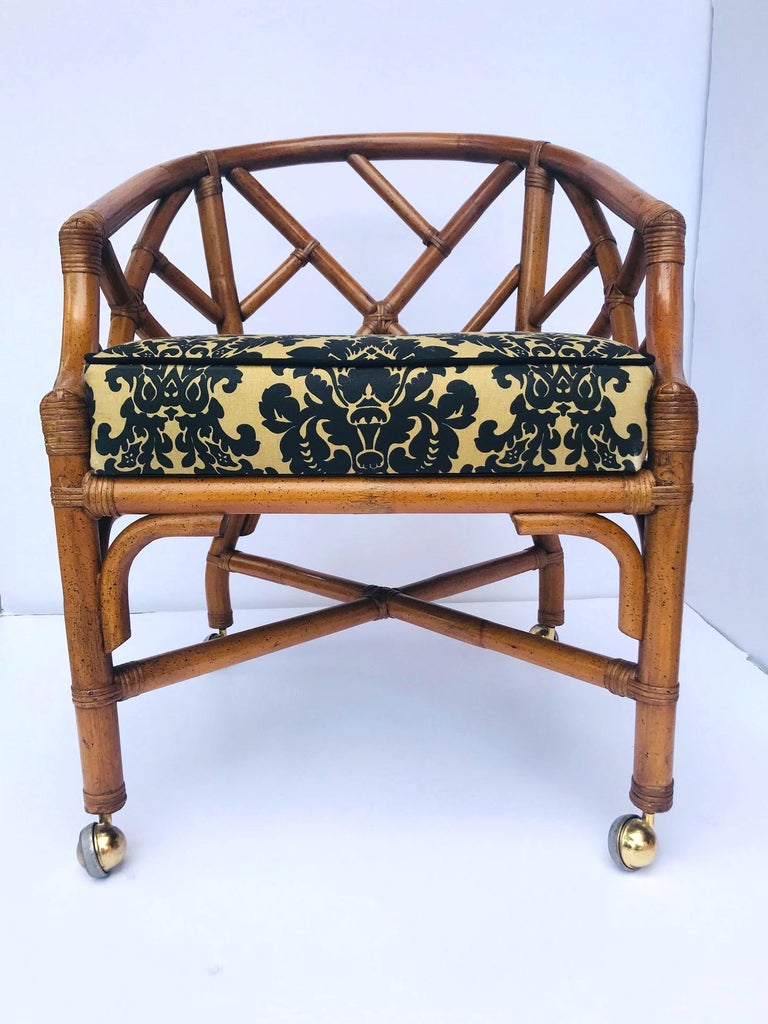 1970s Bamboo and Rattan Chippendale Swivel Desk Chair For Sale 2