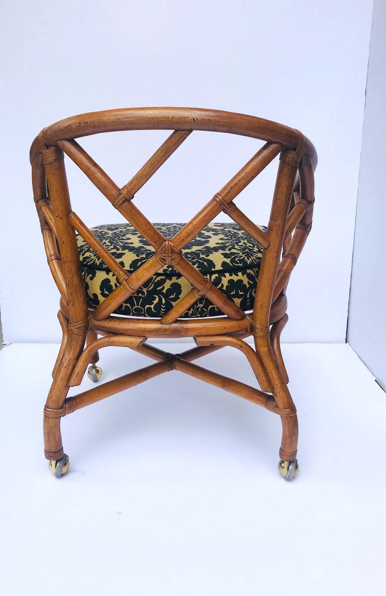 Textile 1970s Bamboo and Rattan Chippendale Swivel Desk Chair For Sale