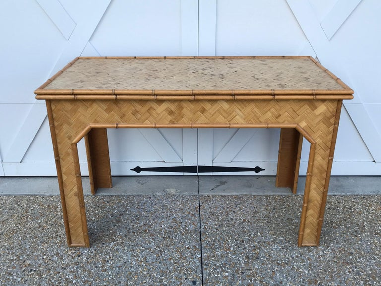 1970s Bamboo Desk with Brass Campaign Hardware For Sale 5