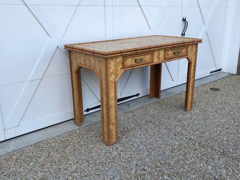 Chinoiserie 1970s Bamboo Desk with Brass Campaign Hardware For Sale