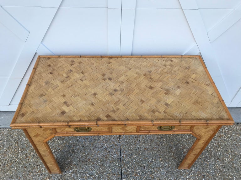 1970s Bamboo Desk with Brass Campaign Hardware In Good Condition For Sale In Richmond, VA