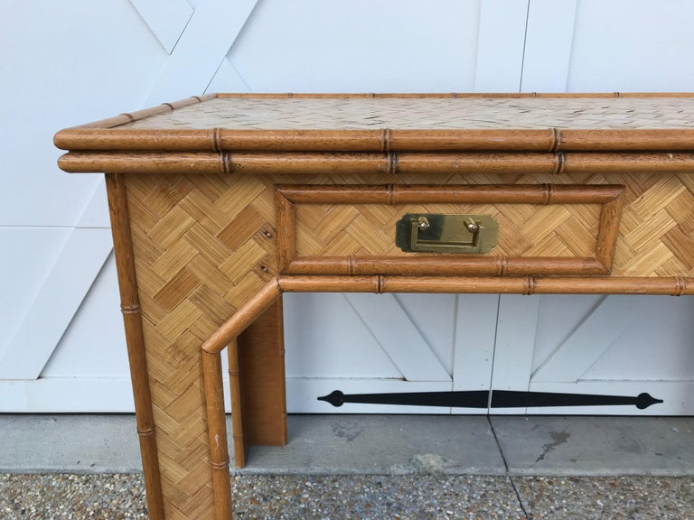 20th Century 1970s Bamboo Desk with Brass Campaign Hardware For Sale
