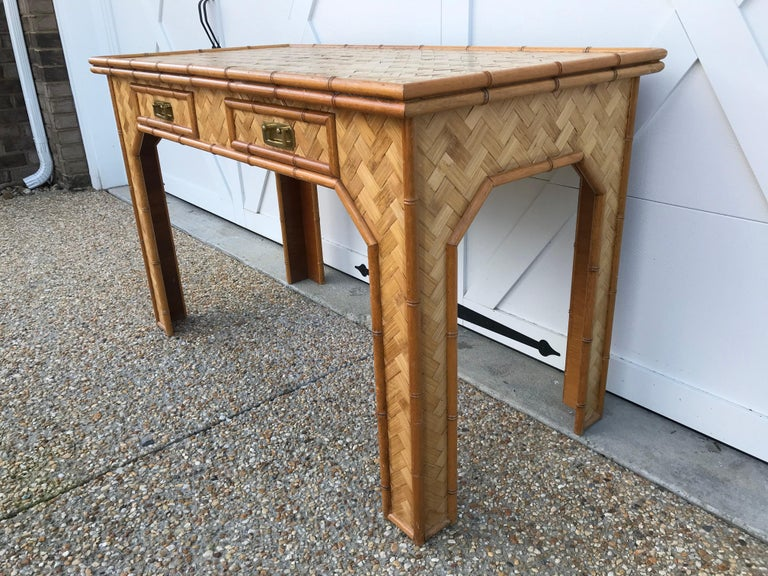 1970s Bamboo Desk with Brass Campaign Hardware For Sale 1