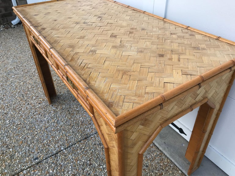 1970s Bamboo Desk with Brass Campaign Hardware For Sale 2