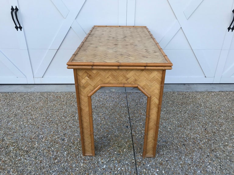 1970s Bamboo Desk with Brass Campaign Hardware For Sale 3