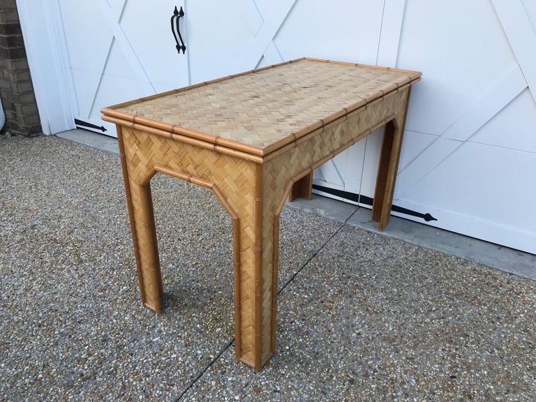 1970s Bamboo Desk with Brass Campaign Hardware For Sale 4