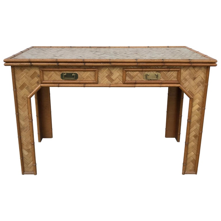 1970s Bamboo Desk with Brass Campaign Hardware For Sale