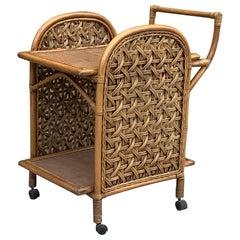 1970's Bamboo Drinks Trolley/Mid-Century Modern Bamboo & Rattan Trolley