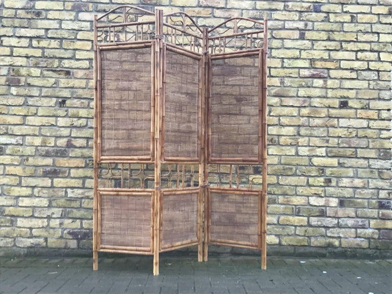 1970s room dividers with bamboo and rattan three-panel screen.