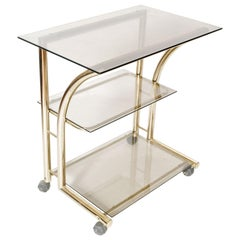 1970s Bar Cart, Occasional Table, Console, in Gilt Brass with 3 Cristal Shelves
