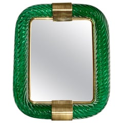1970s Barovier Toso Vintage Big Size Moss Green Murano Glass Brass Photo Frame