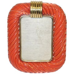 1970s Barovier Toso Vintage Coral Orange and Gold Murano Glass Photo Frame
