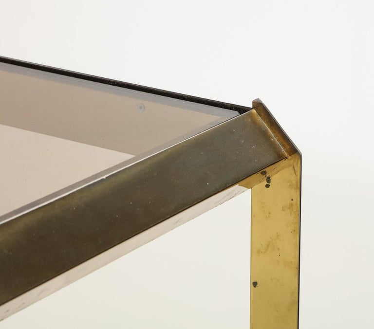 1970s Bauhaus Style Brass and Smoked Glass Dining Table For Sale 7