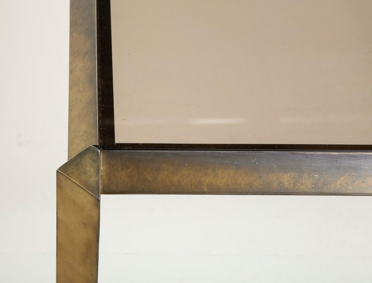1970s Bauhaus Style Brass and Smoked Glass Dining Table For Sale 8