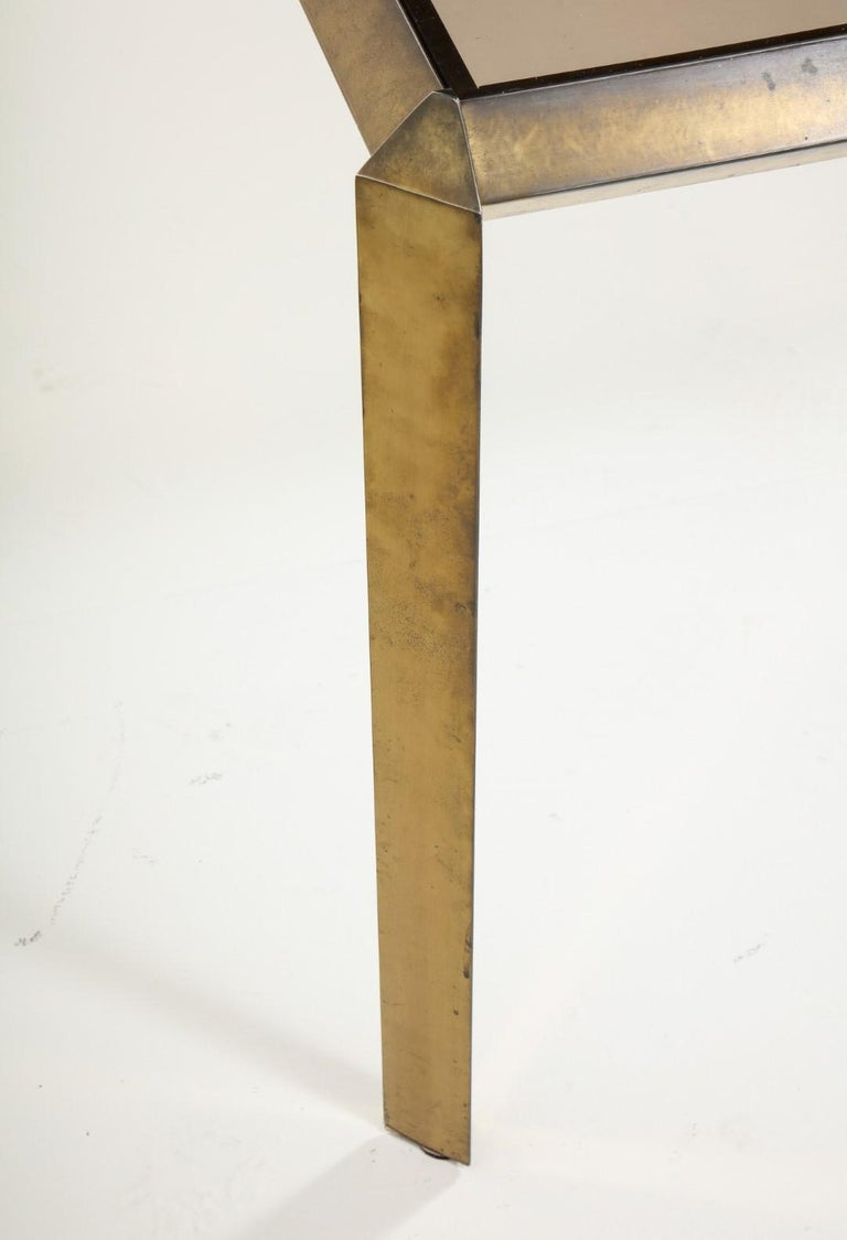 1970s Bauhaus Style Brass and Smoked Glass Dining Table For Sale 9