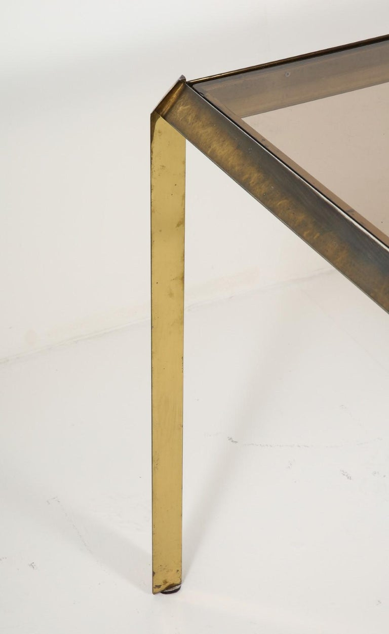 1970s Bauhaus Style Brass and Smoked Glass Dining Table In Good Condition For Sale In Chicago, IL