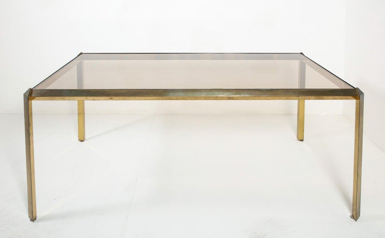 Late 20th Century 1970s Bauhaus Style Brass and Smoked Glass Dining Table For Sale