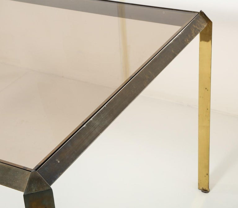 1970s Bauhaus Style Brass and Smoked Glass Dining Table For Sale 1