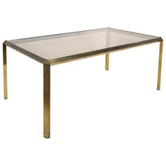 1970s Bauhaus Style Brass and Smoked Glass Dining Table