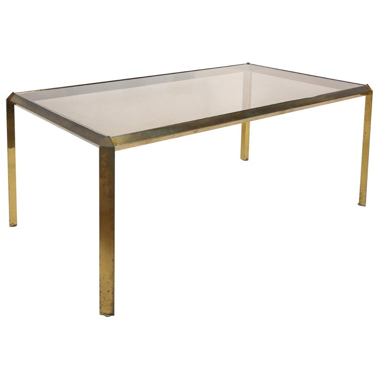 1970s Bauhaus Style Brass and Smoked Glass Dining Table For Sale