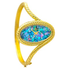 1970s Baume Mercier Gold Rope Motif Opal Mosaic Dial Bangle Cuff Bracelet Watch